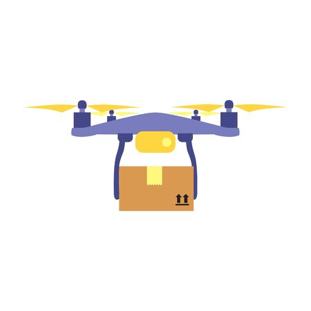 Vector illustration of flying drone with parcel or box.  Safe contactless delivery to the door by drone concept. Online shopping order