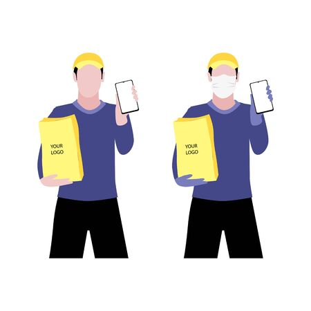 Vector illustration set of white men in and without  protective medical mask and a cap is delivering the paper package and showing smartphone. Safe online delivery to the door concept. Online shopping order