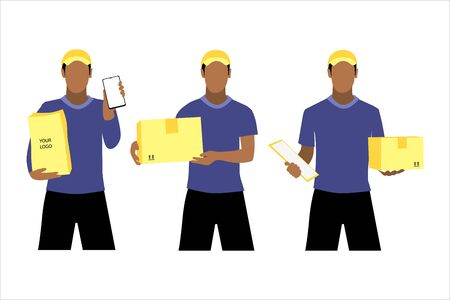 Vector illustration set of different black men or couriers in a cap is delivering the parcel or box.  Safe contactless delivery to the door by courier concept. Online shopping order Illustration
