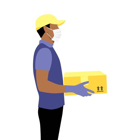 Vector illustration of black afro courier with beard in protective gloves, mask and cap with package.  Delivering the parcel or box concept. Online shopping order