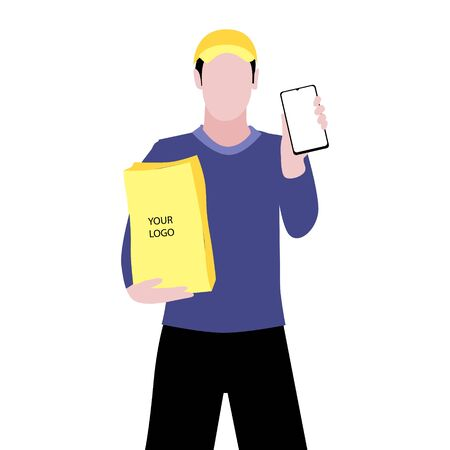 Vector illustration of white man in a cap is delivering the paper package and showing smartphone. Safe online delivery to the door concept. Online shopping order