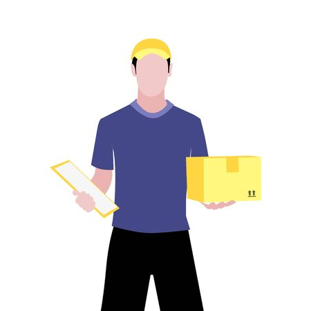 Vector illustration of white man with documents is delivering the parcel or box.  Safe contactless delivery to the door by courier concept. Online shopping order