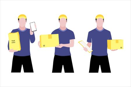 Vector illustration set of different white men or couriers in a cap is delivering the parcel or box.  Safe contactless delivery to the door by courier concept. Online shopping order