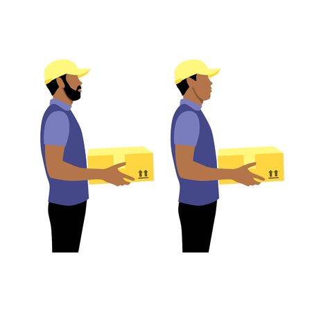 Vector illustration set of two black or latin couriers with package.  Delivering the parcel or box concept. Online shopping order. Young boy and adult with beard  worker Illustration