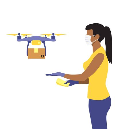 Vector illustration of black or latin woman in protective medical mask and a flying drone delivering the parcel or box.  Safe contactless delivery to the door by drone concept. Online shopping order
