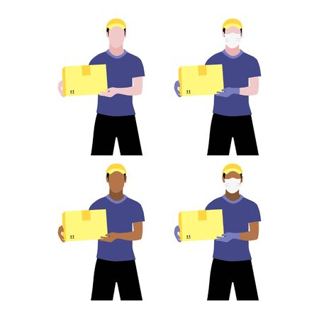 Vector illustration set of black and white men with and without protective medical mask and gloves is delivering box. Safe contactless delivery to the door by courier concept. Online shopping order
