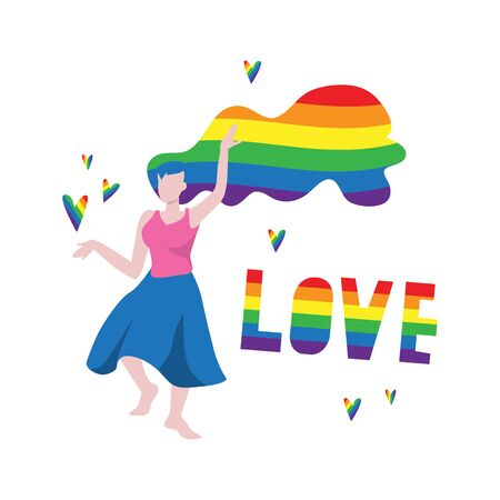 Vector illustration of dancing white woman with lgbt rainbow color flag hairs and word