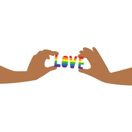 Vector illustration of black hands carefully holding word Love in rainbow LGBT flag colors with hearts around. IGBT, freedom love, gay pride concept. Freedom of speaking Illustration