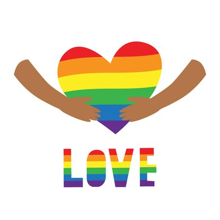 Vector illustration of black hands carefully holding big heart in rainbow LGBT flag colors with word