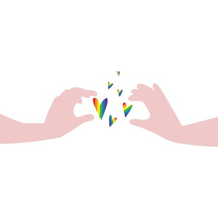 Vector illustration of hands carefully holding flying hearts in rainbow LGBT flag colors. IGBT, freedom love, gay pride concept. Freedom of speaking Illustration