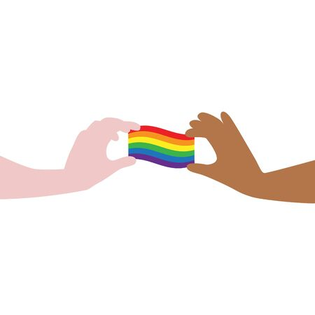Vector illustration of different color hands carefully holding rainbow LGBT flag. IGBT, freedom love, gay pride concept. Freedom of speaking Illustration