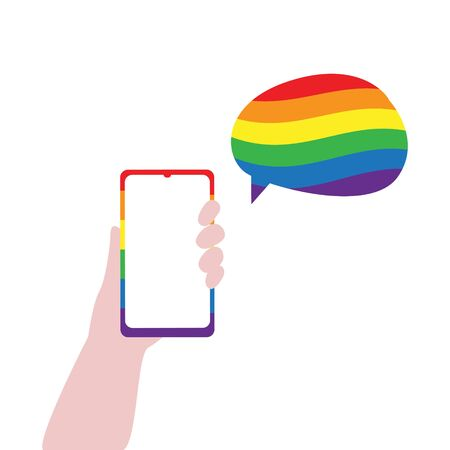 Vector illustration of human hand with smartphone and speech bubble in lgbt rainbow colors. IGBT, freedom love, gay pride concept. Freedom of speaking