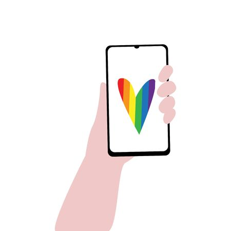 Vector illustration of human hand with smartphone and heart in lgbt rainbow colors on screen. IGBT, freedom love, gay pride concept. Freedom of speaking Illustration