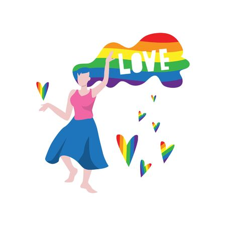 Vector illustration of dancing black woman with lgbt rainbow color flag hairs and word
