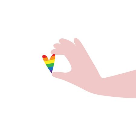 Vector illustration of black hands carefully holding rainbow LGBT flag colors with I am phrase. IGBT, freedom love, gay pride concept. Freedom of speaking