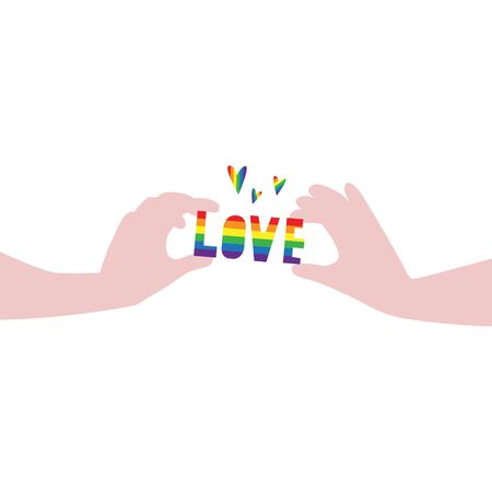 Vector illustration of hands carefully holding word Love in rainbow LGBT flag colors with hearts around. IGBT, freedom love, gay pride concept. Freedom of speaking