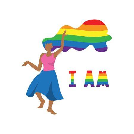 Vector illustration of dancing black woman with lgbt rainbow color flag hairs and words