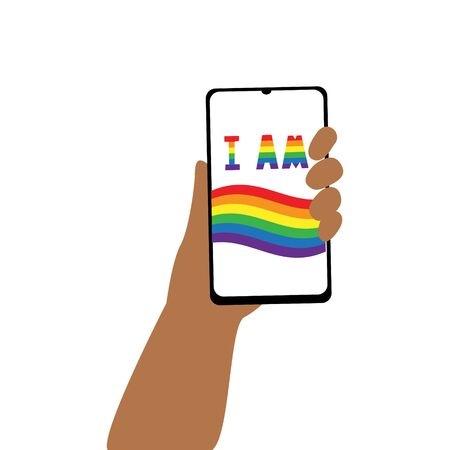 Vector illustration of human hand with smartphone and lgbt rainbow flag and words