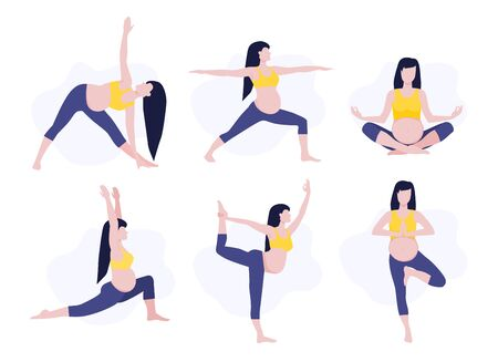 Vector illustration set of pregmant girl or woman doing yoga class. Healthy fitness pregnant, sport in pregnancy. Home activity, healthy lifestyle.