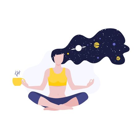 Vector illustration of meditating girl or woman doing yoga class with long hairs and cosmos and planets with cup of coffee or herbal tea. Mental health meditation, calm and inner peace.