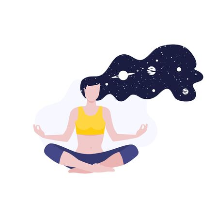 Vector illustration of meditating girl or woman doing yoga class with long hairs and cosmos and planets. Mental health meditation, calm and inner peace. Home activity, healthy lifestyle. Illustration
