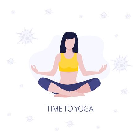 Vector illustration of meditating girl or woman doing yoga class around viruses. Healthy fitness, sport in quarantine. Home activity, healthy lifestyle. Strong immunity Illustration