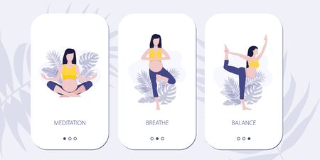 Vector mobile site or mobile app onboarding screens for yoga lovers. Yoga asana poses for woman expecting a baby. Healthy pregnance concept. Pregnant woman doing yoga exercises and yoga poses.