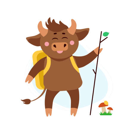 Vector illustration of cow, ox or bull hiking with back pack around mushrooms and grass in forest. Year of bull 2021 concept. Summer holidays, hiking concept 向量圖像