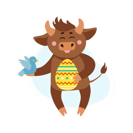 Vector illustration of cow, ox or bull with easter egg and spring bird. Year of bull 2021 concept. Spring holidays, easter concept