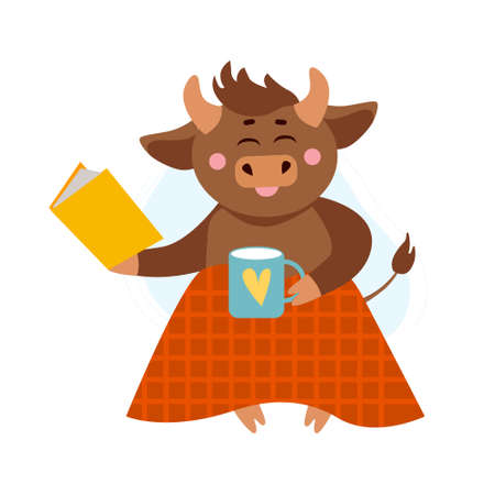Vector illustration of cow, ox or bull with cup of hot tea or coffee under warm plaid or blanket reading book. Year of bull 2021 concept. Autumn holidays, cozy home concept