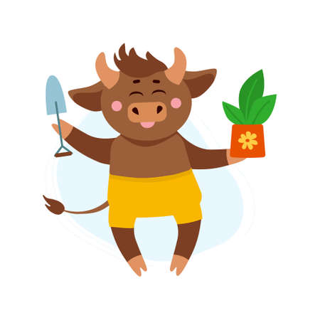 Vector illustration of cow, ox or bull in shorts with pot with plant and garden tool plantings. Year of bull 2021 concept. Plantings in garden concept 向量圖像