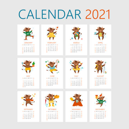 Vector calendar illustrations for 2021. Year of cow, ox or bull concept. Christmas holidays, xmas illustrations