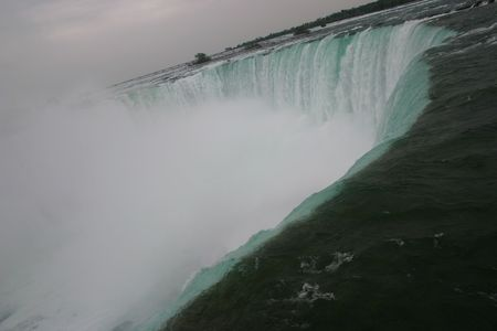 The Horseshoe Falls at Niagara Falls, taken from across the river in Niagara Falls, Ontario, Canada.