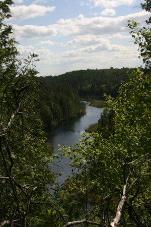 The Indian River flowing through Warsaw Caves  conservation area, near Peterborough, Ontario, Canada. Taken from a bluff overlooking the river.