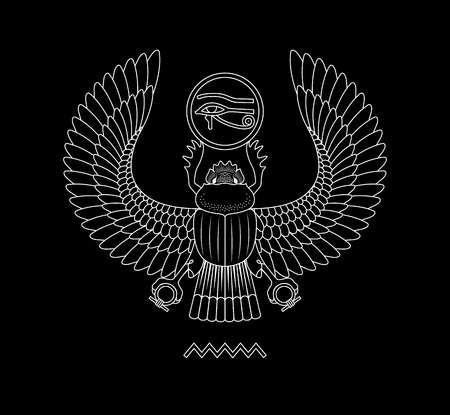 Graphic print of egypt scarab pattern on black background.