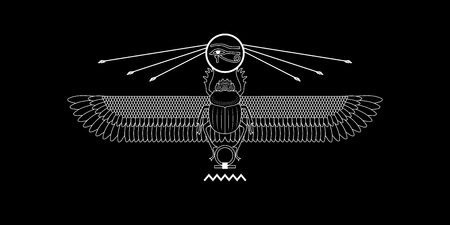 Graphic print of egypt sacred scarab pattern on black. Stok Fotoğraf - 108744138