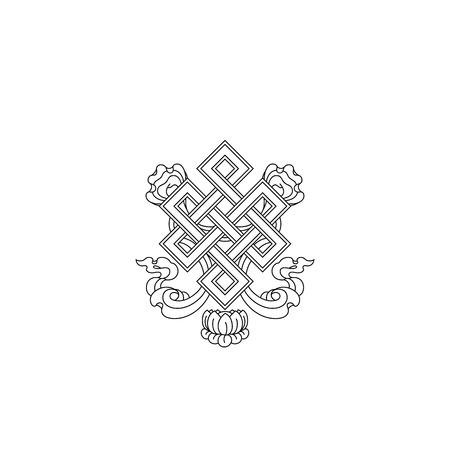 Graphic illustration of endless knot symbol. Sacred symbol. Engraving.