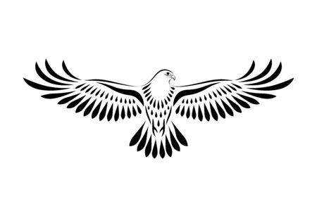 Engraving of stylized hawk. Decorative bird. Linear drawing. Flying bird. Stencil art
