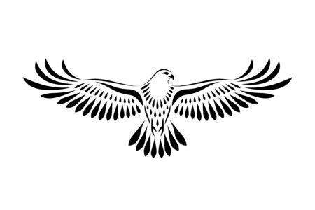 Incisione di falco stilizzato. Uccello decorativo. Disegno lineare. Uccello volante. Stencil arte