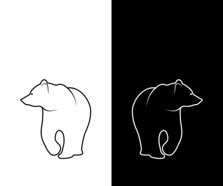 Graphic illustration of bear silhouette. Black and white linear drawing. Иллюстрация