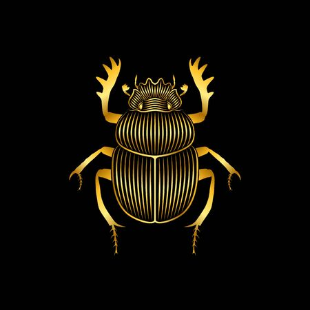Graphic print of stylized golden scarab on black background. Linear drawing.