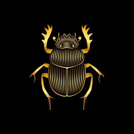 Impresión gráfica de escarabajo dorado estilizado sobre fondo negro. Dibujo lineal.
