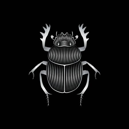 Graphic print of stylized silver scarab on black background. Linear drawing. Stock Illustratie