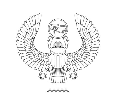 Graphic illustration of ancient egypt scarab pattern. White background.