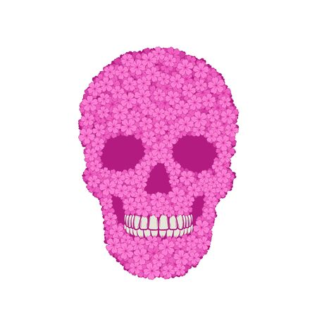 Graphic illustration of stylized pink verbena skull. Day of the dead