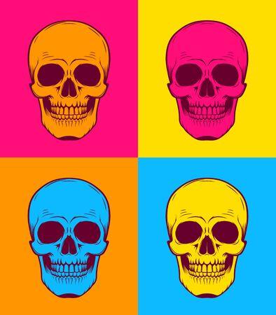 Graphic illustration of Pop Art skull. Stencil art. Pop Art.