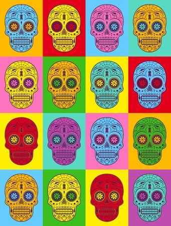 Illustration graphique de crânes de sucre décoratifs Pop art. Jour des crânes morts. Pop Art.
