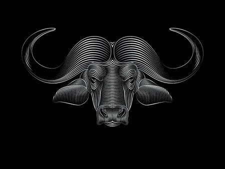 Engraving of stylized silver buffalo on black background. Linear drawing. Portrait of a buffalo