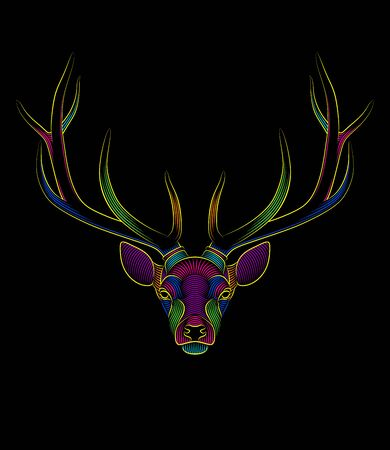 Engraving of stylized psychedelic deer on black background. Linear drawing. Portrait of a deer