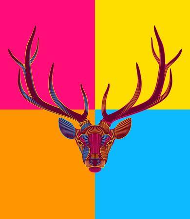 Pop Art engraving of stylized deer on black background. Modern art. Portrait of a deer